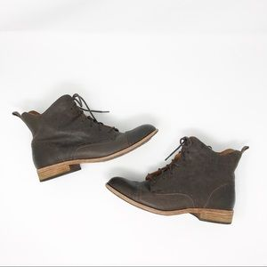 Kork-Ease Yoni Brown Leather Ankle Boots Size 9